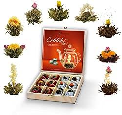 Aufblühtee-Geschenkset in Teekiste aus Holz mit 12 Erblühtee in 9 Sorten | Weißer Tee und schwarzer Tee
