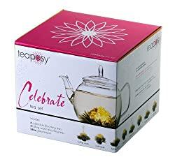 Aufblühtee-Geschenkset mit Glas-Teekrug und 8 Teeblumen