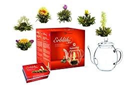 Aufblühtee-Geschenkset mit Glaskanne | Weißer Tee in 6 verschiedenen Sorten