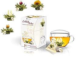 Aufblühtee Teeblumen-Geschenkset mit Teeglas und 8 Teeblumen | Weißer Tee