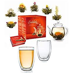 Erblühtee-Geschenkset mit Glaskanne & 2 Thermogläsern | Weißer Tee
