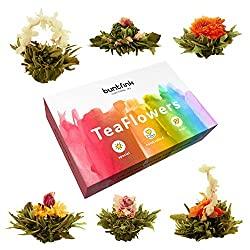 Teeblumen-Geschenkset mit 6 Teerosen / Teeblüten | Grüner Tee